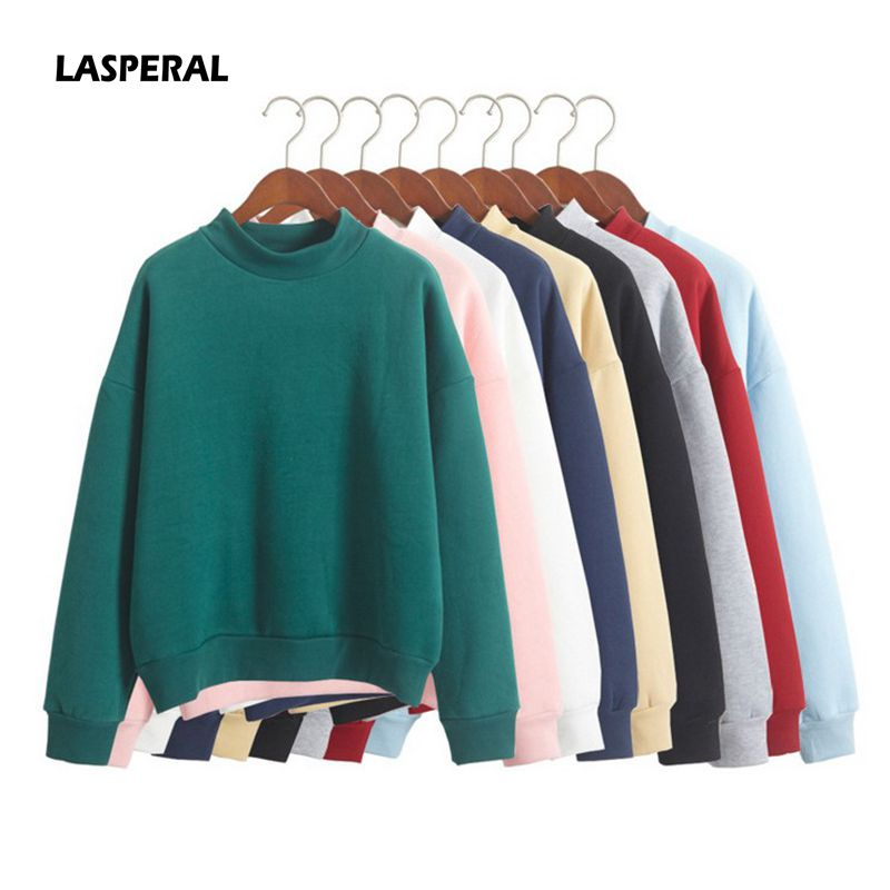 LASPERAL Hooded Pullover Tops Knit Sweatshirt Fleece Winter Loose Thick Casual Female