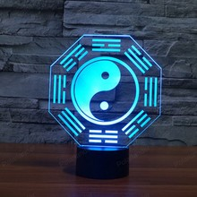 Creative 3D light USB LED Night Light 7 Color Changing Nightlight Decor Acrylic Desk Lamp with Touch Switch