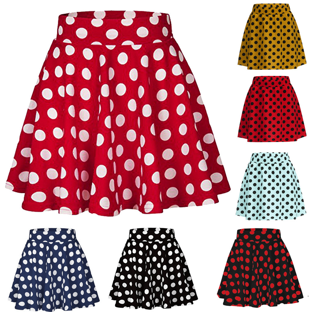 Micro Skirt Mini Skirt Polka Dot Short Sexy Women Summer Saia Faldas Mujer Moda 2019 White Black Red Yellow Vintage Jupe Femme