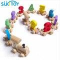Niños Montessori Madera Blanda Tren Figura de Juguete de Modelo con el Número patrón de 0 ~ 9 de Regalo para Bebés y Niños juguete educativo Temprano WD006