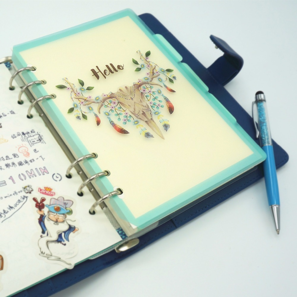 A5 A6 PP Matt Frosted Plate Hello Garden Party Writing Pad Protecting Inner Paper Spacer for Planner Filofax Divider Separator