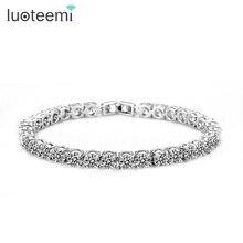 LUOTEEMI  New AAA 1 Carat 5mm Round  Cubic Zirconia Tennis Micro Zircon Inlay Bracelets & Bangles Wedding Jewelry