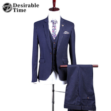 Mens Slim Fit Three Piece Wedding Suits With Pants England Style Custom Made Groom Striped Suit Men DT281