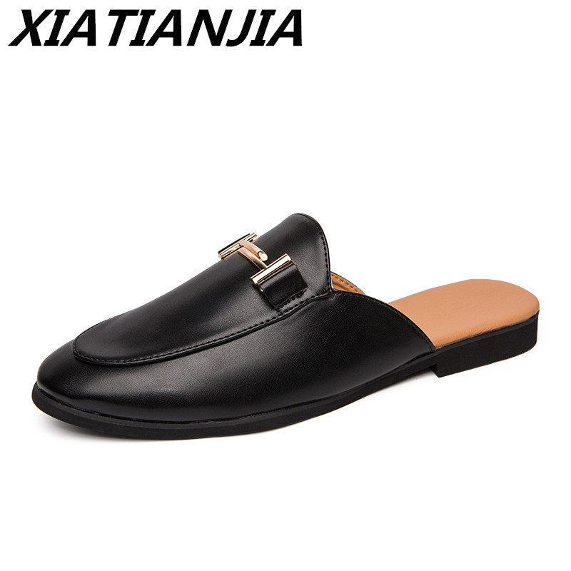 Men's Sneakers British Wind Baotou Heel Half Drag Leather Men Shoes Loafers Men's Moccasins  Zapatos De Hombre Tenis Masculino