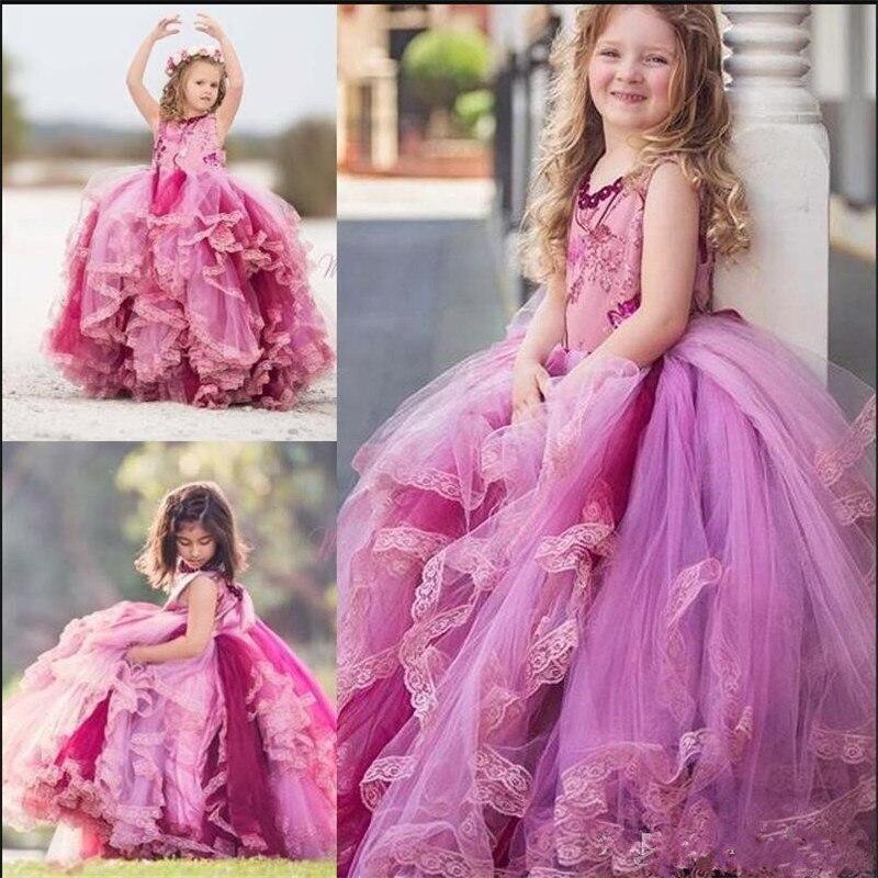 Jolies robes de concours pour enfants en bas âge robe de demoiselle d'honneur à plusieurs niveaux en Tulle avec volants dentelle filles robes de reconstitution historique robe de bal sur mesure Longo