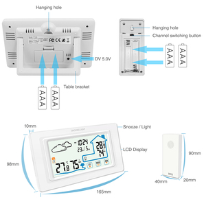 Image 5 - דיגיטלי אלחוטי מדדי לחות מגע מסך מזג אוויר תחנת טמפרטורת לחות מד מדדי לחות לוח דקורטיבי מגע שעון
