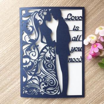 35pcs/lot Hollow Laser Cut Love Wedding Invitation Card Engagement Wedding  Invitations Blessing Card Anniversary Cards