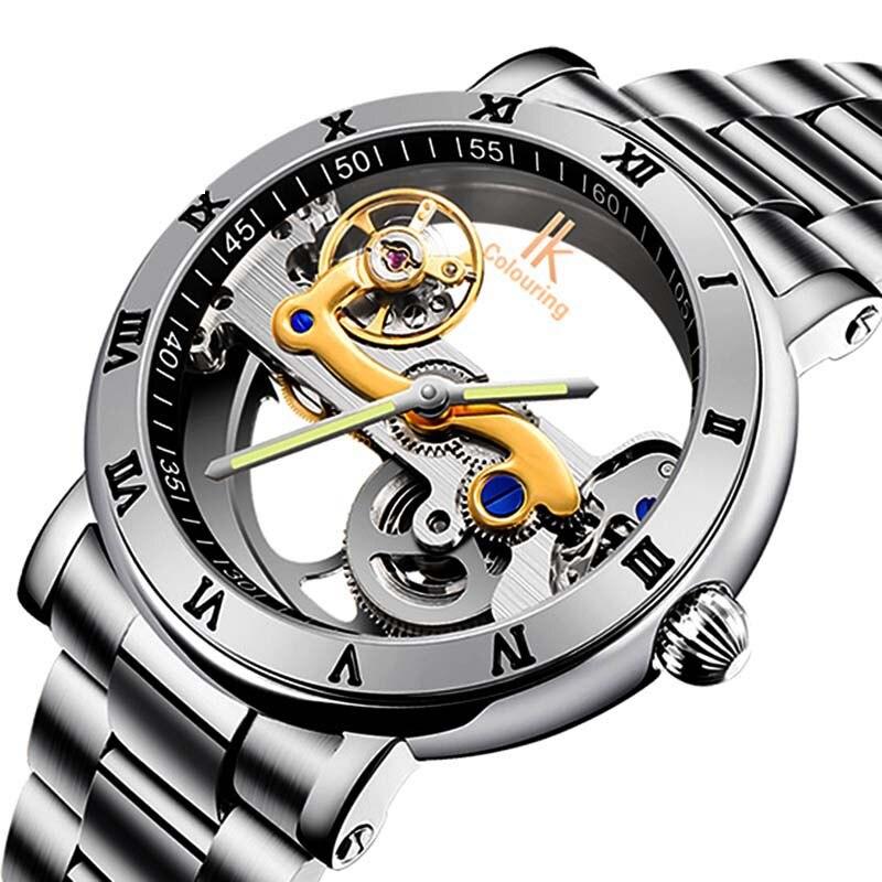 Модные мужские автоматические часы, водонепроницаемые, ремешок из нержавеющей стали, прозрачные Спортивные часы, мужские механические час...