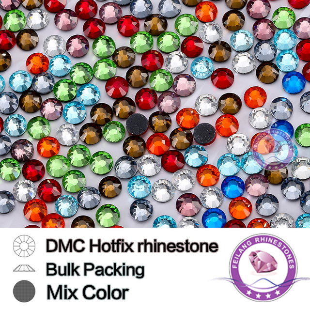 Mix Color Size SS6 SS10 SS16 SS20 SS30 Bulking Packing HotFix Rhinestone For Garments Bags And Shoes