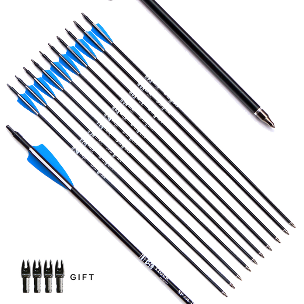 12pcs/lot 30inch Target Hunting Arrows Fiberglass Arrow With Replaceable Arrowhead Spine 500 For Recurve/Coumpond Bows Archery
