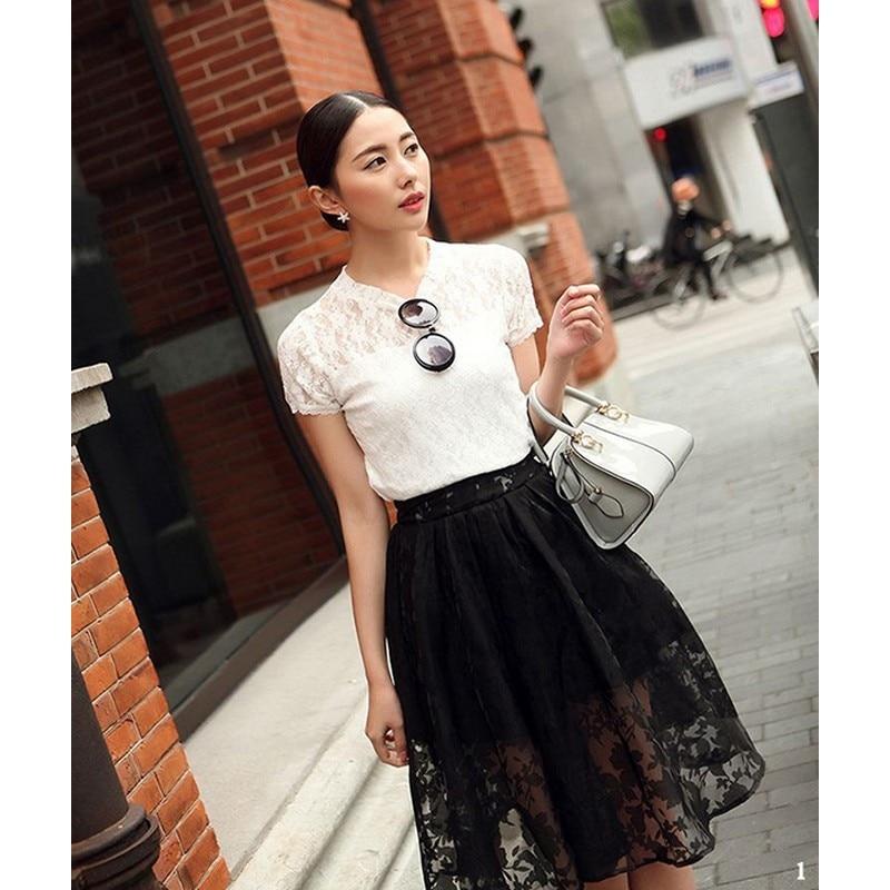 ff81e80e8e 2015 Fashion vintage High waist Midi tutu skirt women Casual Lace skirts  female Black White Saias Femininas SJM-in Skirts from Women's Clothing on  ...