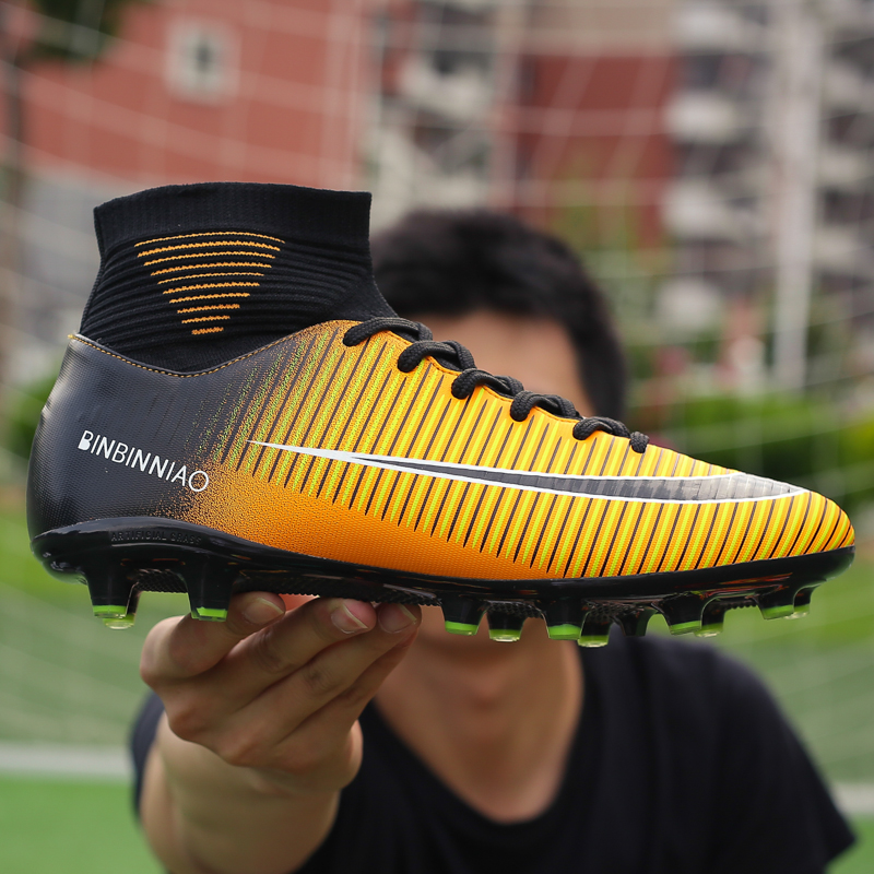 Men Football Boots Soccer Cleats Boots Long Spikes TF Spikes Ankle High Top Sneakers Soft Indoor