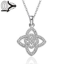 Christmas Gift Silver Plated Necklace&Pendant,Wedding Jewelry Accessories,Fashion Zircon Silver Star Flower Necklaces