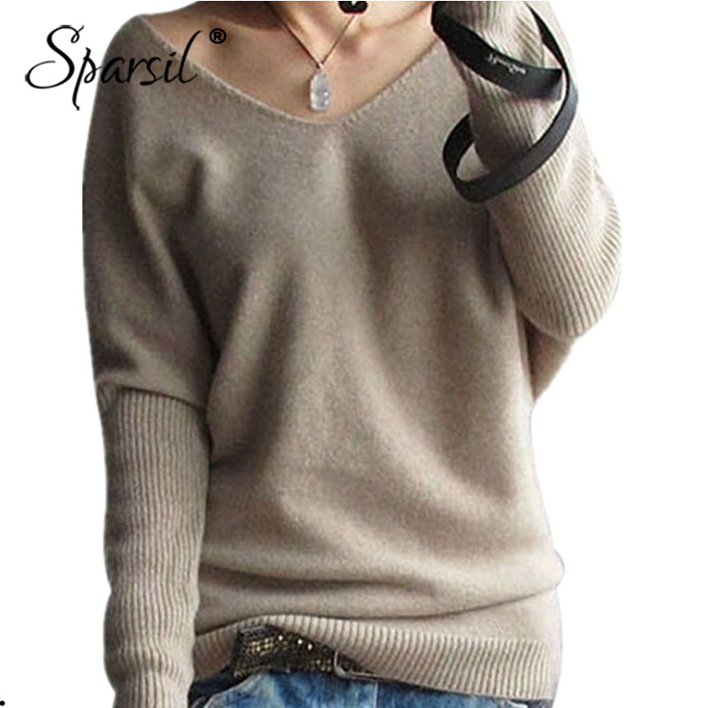Sparsil Women Spring V Neck Cashmere Sweater Batwing Sleeve Solid Color Knitted Pulloves Fashion Soft Wool Knitwear Plus Size