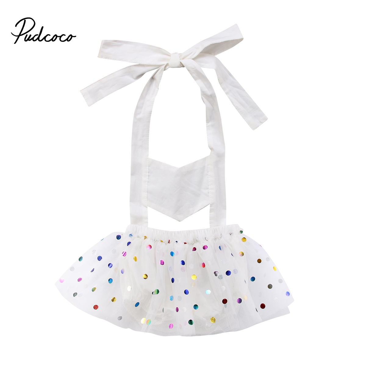 2018 Cute Baby Romper Sequin Dot Newborn Kids Baby Girls Party Romper White Tulle Jumper Sundress Sleeveless Outfits Clothes
