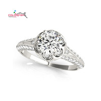 COLORFISH 1 2 Carat Round Cut Split Shank Halo Engagement Ring For Women Sona Jewelry 925