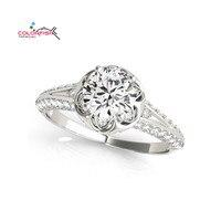 COLORFISH 1 2 Carat Round Cut Split Shank Halo Engagement Ring For Women Sona Jewelry 925