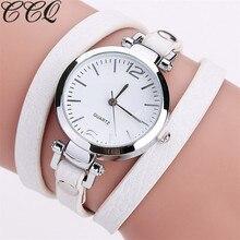 CCQ Фирменная Новинка Модные Роскошные кожаный браслет часы женские кварцевые часы Повседневное Для женщин Наручные Часы Relogio Feminino Лидер продаж