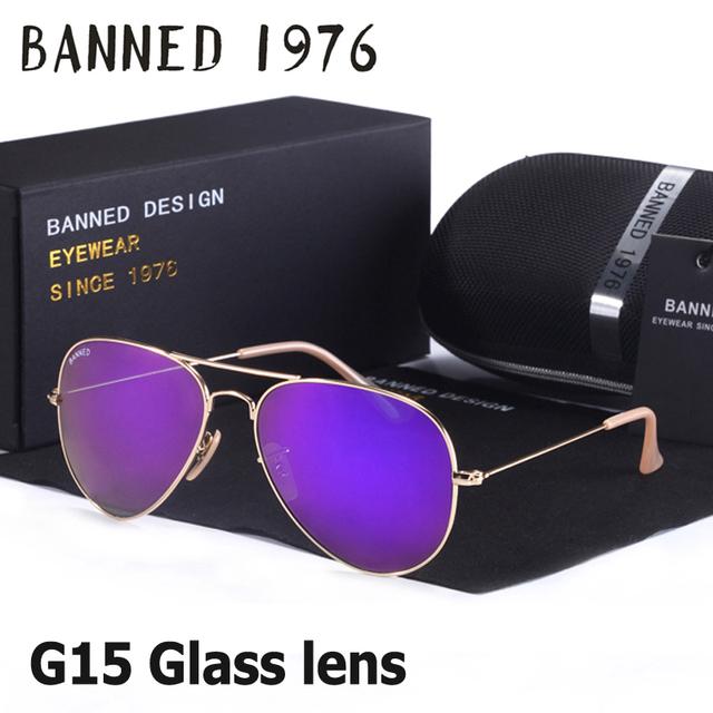 2017 espejo de cristal G15 lente de cristal marco de metal clásico diseño mujeres de los hombres de la aviación gafas feminin marca gafas de sol de la vendimia