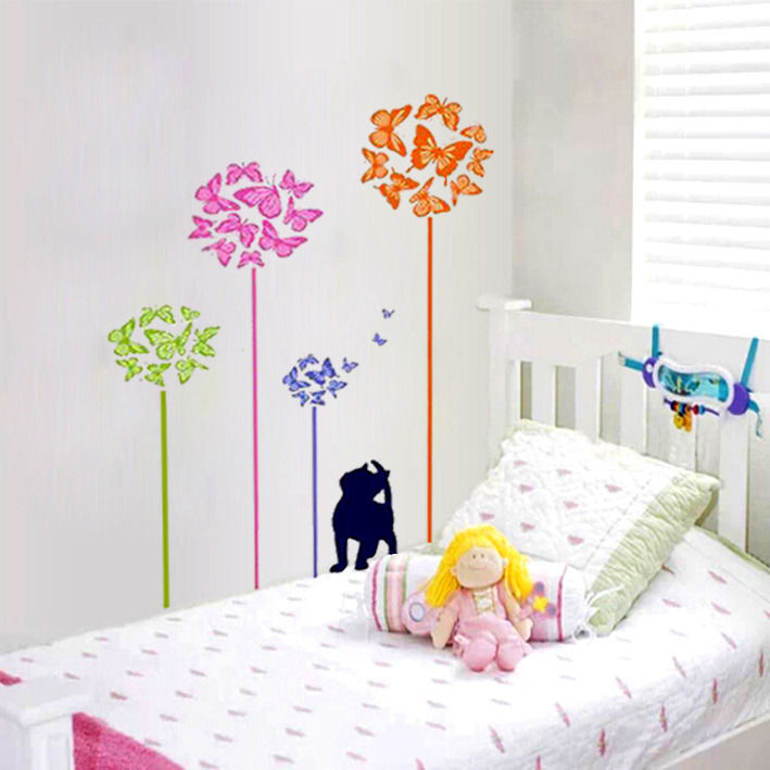 Diy Butterfly Cat Wall Sticker Decals Art Mural Home Decoration Accessories Wall Stickers For Kids Room