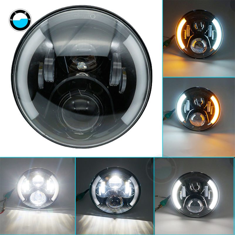 7 Round 50W Hi/Lo Beam Motorcycle Driving Light with DRL Turn Signal Halo Ring Angle Eyes for Harley Davidsion .