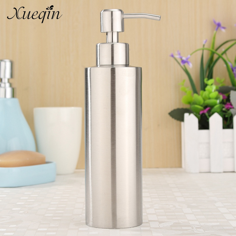 Xueqin High Quality 304 Stainless Steel Kitchen Bathroom Hand Pump Liquid Soap Dispenser Lotion Detergent Bottle kitchen bathroom sink soap lotion dispenser head stainless steel abs bottle