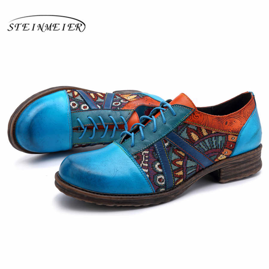Women Genuine leather brogue casual designer vintage Retro lady flats shoes handmade oxford shoes for women blue 2019 spring