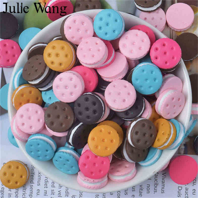 Julie Wang 10PCS 16x6mm Resin Biscuit Cream Sandwich Food Slime Charms Pendant Jewelry Making Accessory Phone Case Decor