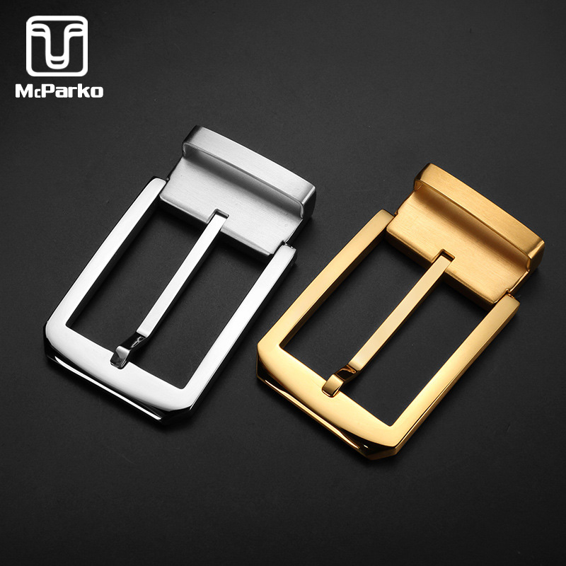 McParko Belt Buckle For Men Stainless Steel Belt Buckle For Belt High Quality No Rust No Allergic Metal Pin Buckle 3.8cm Golden