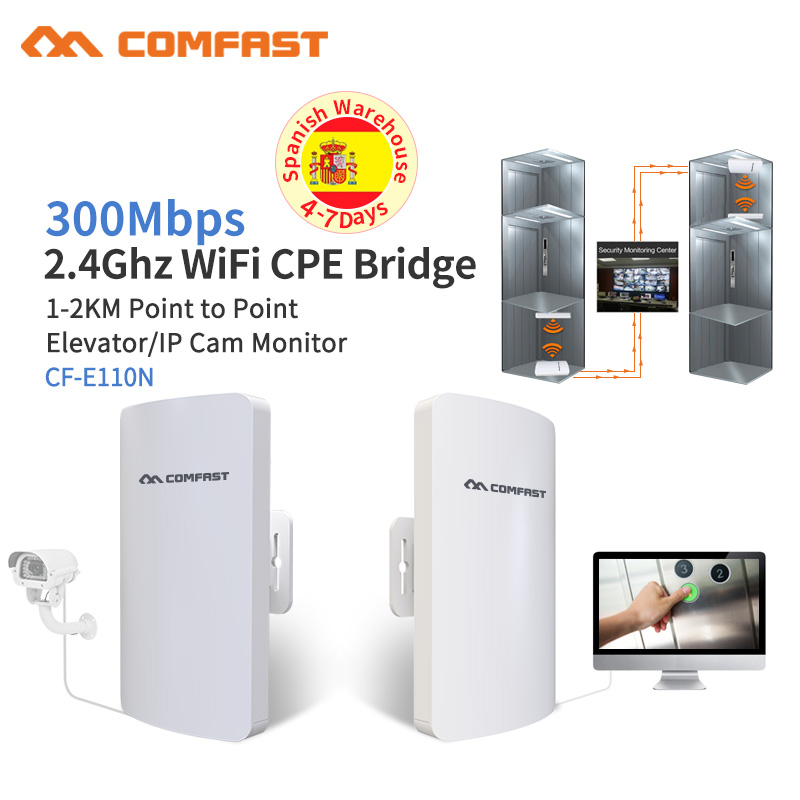 1-2KM Wireless Outdoor CPE WIFI Router 300Mbps Access Point AP Router WDS WIFI Bridge Ip Cam Monitor WI FI Repeater Extender 2pc 2km wisp long range outdoor cpe wifi router 2 4ghz wireless ap wifi repeater access point wifi extender bridge client router