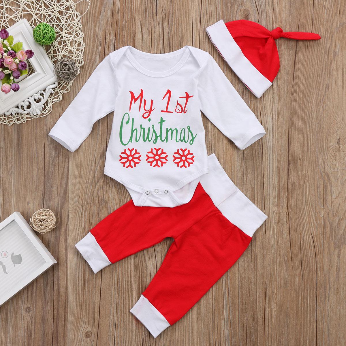 My 1st Christmas Newborn Baby Boy Girl Xmas Clothes Tops Romper