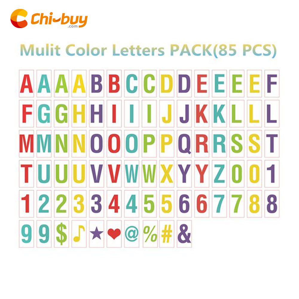 CHIBUY Mulit Color Letters Symbols & Glyphs & Numbers Card FOR A4 Size Cinematic Light box( Include 85pcs)
