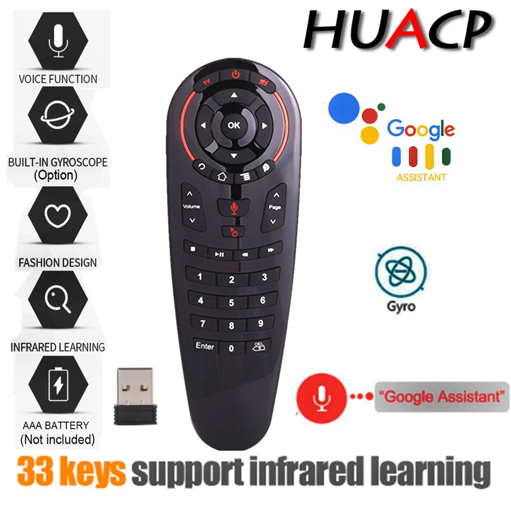 Huacp G30 Air souris télécommande 2.4G voix sans fil universelle 33 touches IR programme d'apprentissage gyroscope intelligent pour Android tv box PC