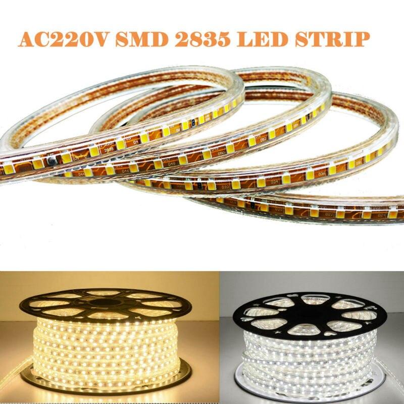 1M/2M-100M 2835 LED Strip 120leds/m With Power Cord Plug Waterproof IP67 Flexible Hi Brightness AC 220V  LED Rope Line