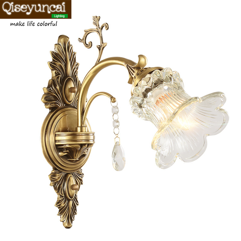 Qiseyuncai European copper wall lamp bedroom bedside aisle living room TV wall background single head double wall lamp garden single head headlight hotel dining room club art glass decorative corridor wall lamp european bird beauty wall lamp