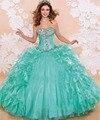 Menta Verde Vestido Quinceanera vestido de Baile de luxo Em Camadas Ruffle Beads e Cristal Doce 16 Vestidos 15 Anos