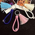 2016 Fashion PU Leather Key Chains with Braided Woven Rope Leather Tassel Keychains Bag Pendant Key Chains Holder Car Keyrings