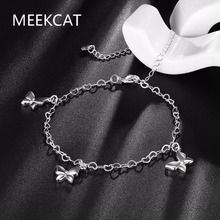 MEEKCAT Three Butterfly charms Anklet For Women Gift 925 stamped silver plated Wholesale Lucky Jewelry Cute Foot Animal Anklet