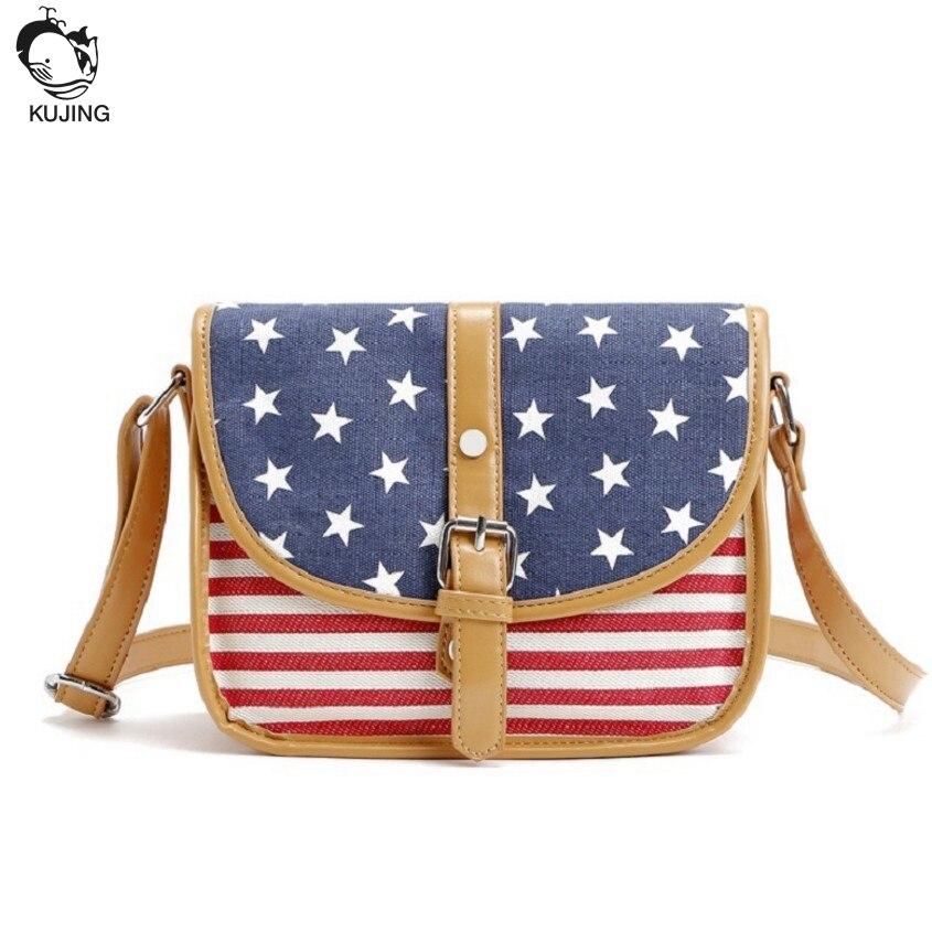 Kujing Женская мода полосатый плече сумка Бесплатная доставка Премиум Холст Путешествия торговый Повседневное сумка Для женщин