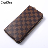 Checkflag Men Wallets Classic Long Style Card Holder Male Purse High Quality Zipper Large Capacity Wallet For Men