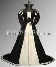 Black & Beige Renaissance Tudor Style Dress Handmade from Brocade and Velvet