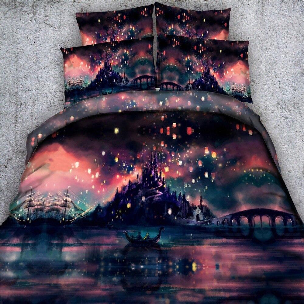 Ensembles de literie de bateau scénique 3D romantique 3/4pc couvre-lits king pleine taille housse de couette double reine 500tc tissé linge de lit de beauté