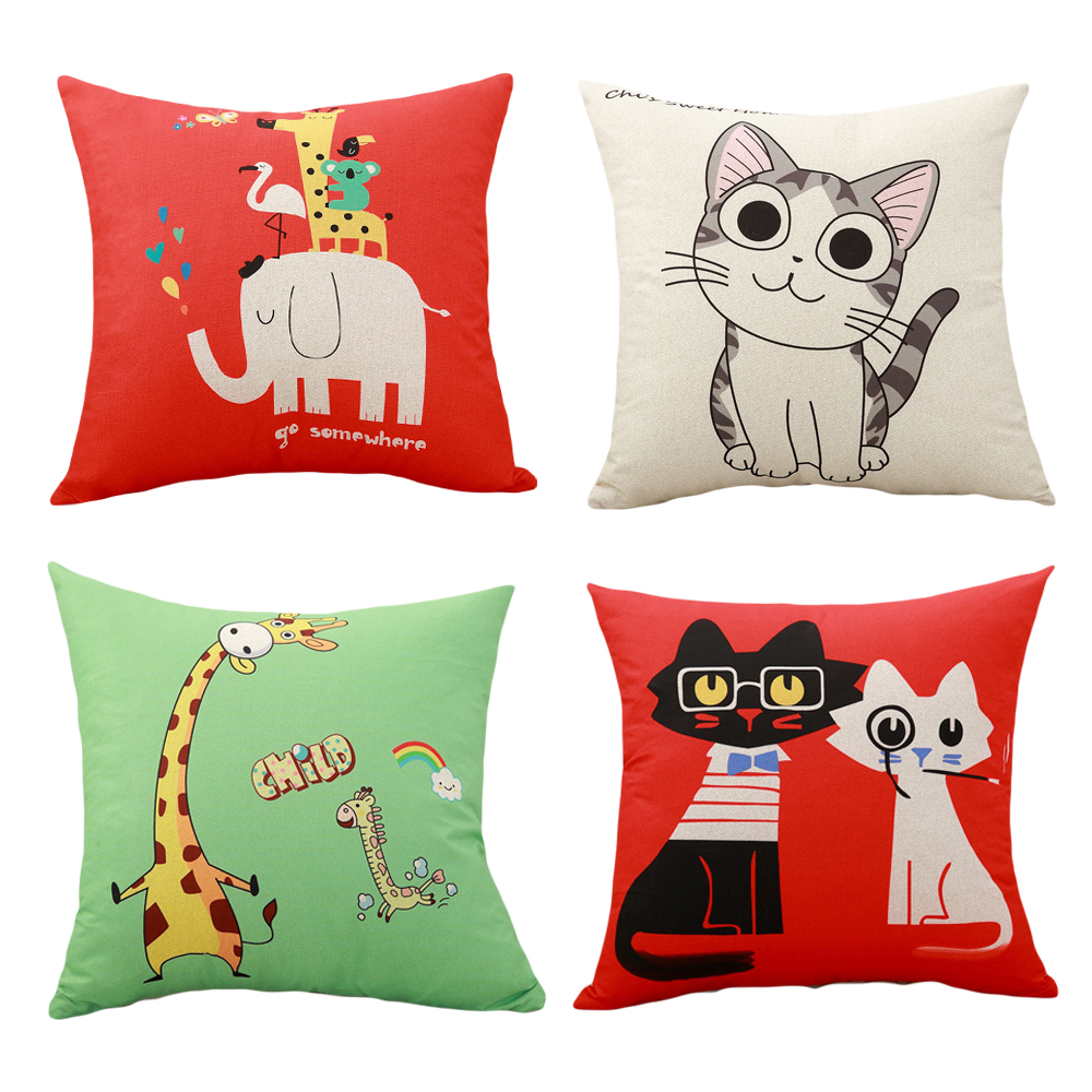 YWZN Cute Cartoon Cat Pillow Case Creative Giraffe Throw Pillow Case Elephant Decorative Pillowcase Funda Cojin Kussenhoes