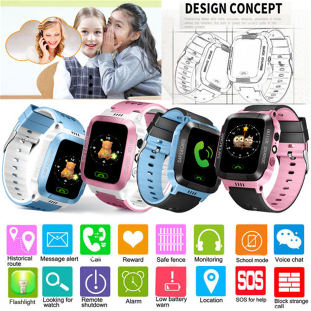 Children Kids Smart Watch LBS Positioning Tracker Not GPS SOS Call Safe Anti-lost Monitor Touch Screen Phone Watch Lovely Gift 1