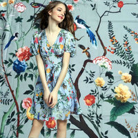 DGV Polyester Silk Satin Fabric Flowers And Trees Print Silk Stretch Satin Fabric Fashion Show Women