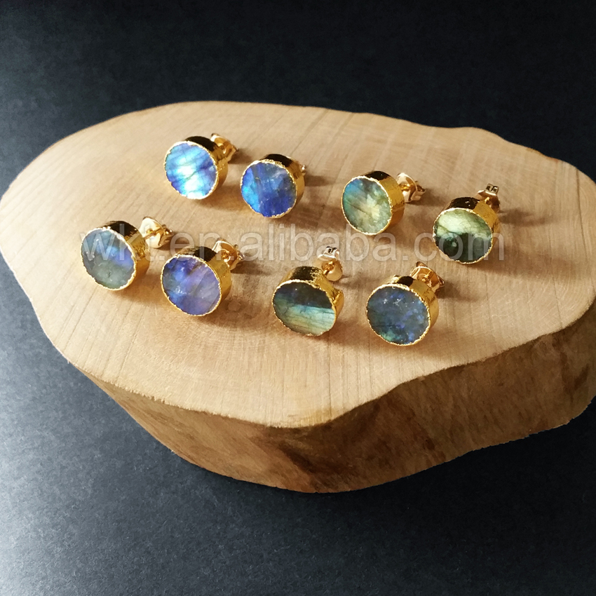 WT E151 Lovely hot sale sparkly natural labradorite round stud stone with gold dipped multi color