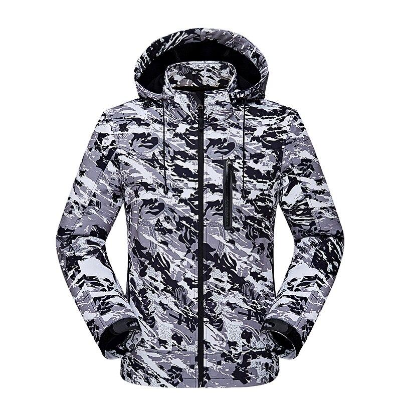 Куртка Для мужчин Водонепроницаемый скрытень Акула кожи Soft В виде ракушки V4 Военная Униформа тактические ветрозащитные теплое пальто каму... ...