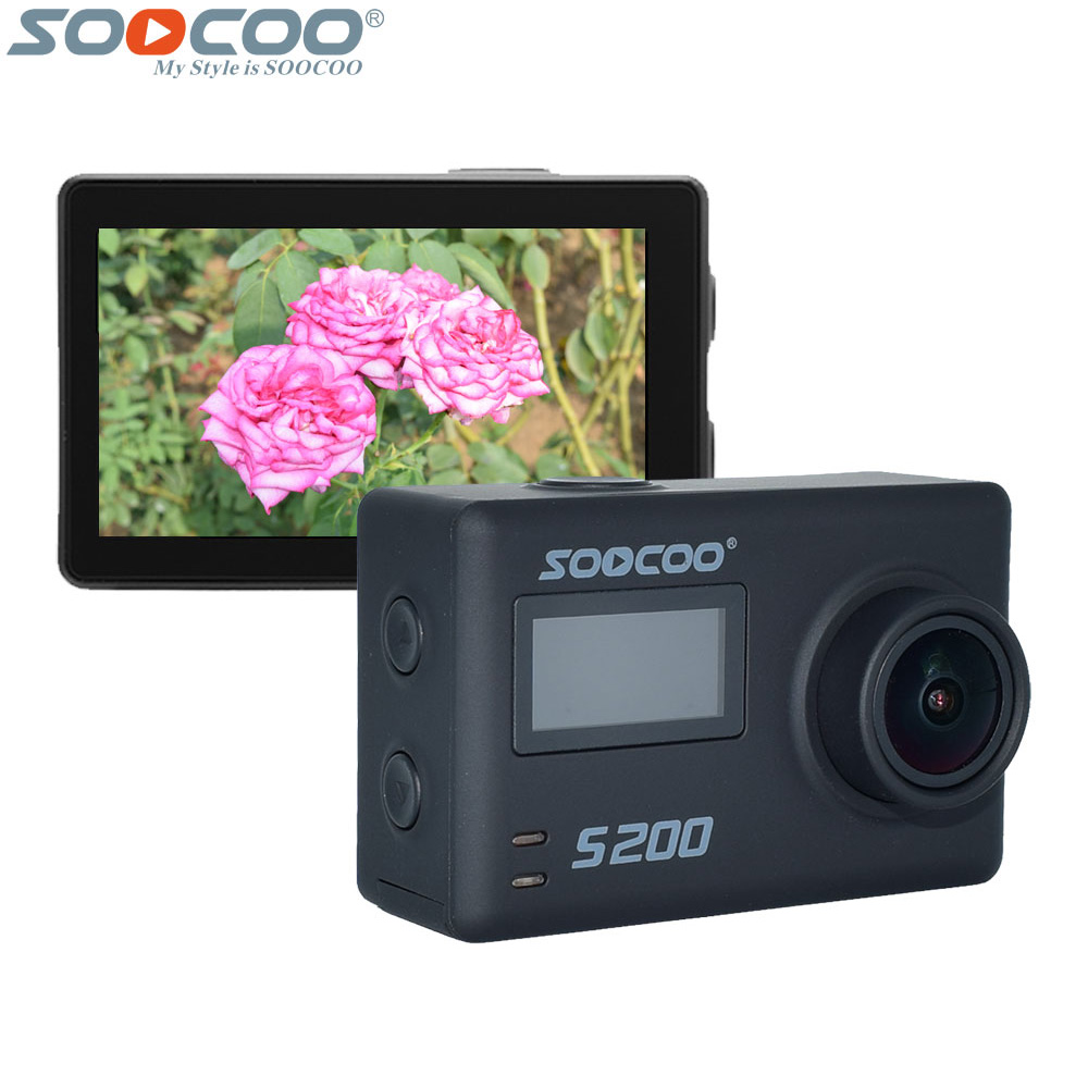 SOOCOO S200 4K Wifi Voice Action Camera 2.45 Inch Touch Screen Voice Control Sport DV Support Remote Control Extend Mic and GPS soocoo s100 pro 4k wifi action video camera 2 0 touch screen voice control remote gyro waterproof 30m 1080p full hd sport dv