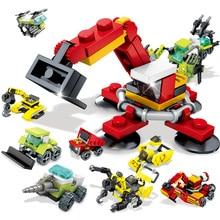 Engineering Building Blocks sets City Truck Excavator Bulldozer Vehicle Construction Toys For Children Gift цена