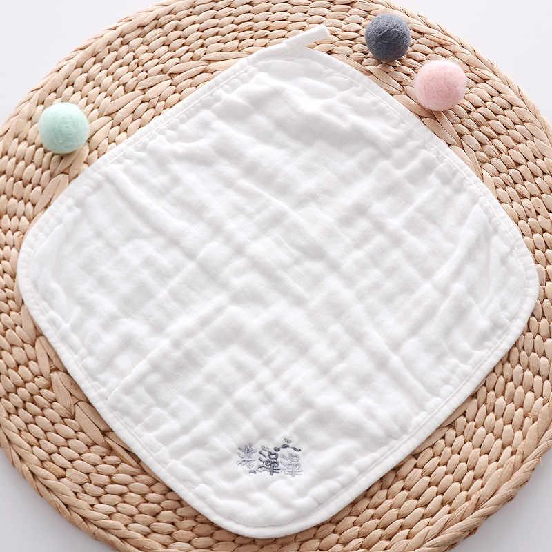 Toalla de bebé multifunción con letras pañuelo toalla cuadrada de gasa de algodón con cara de bebé Toalla de paño toalla recién nacido suministros 30*30 CM